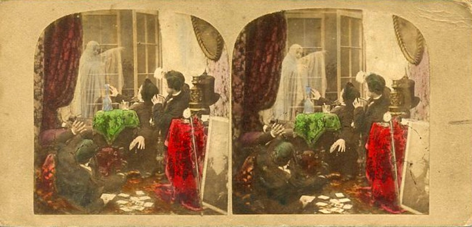 3D 1860 Female ghost and cardplayers