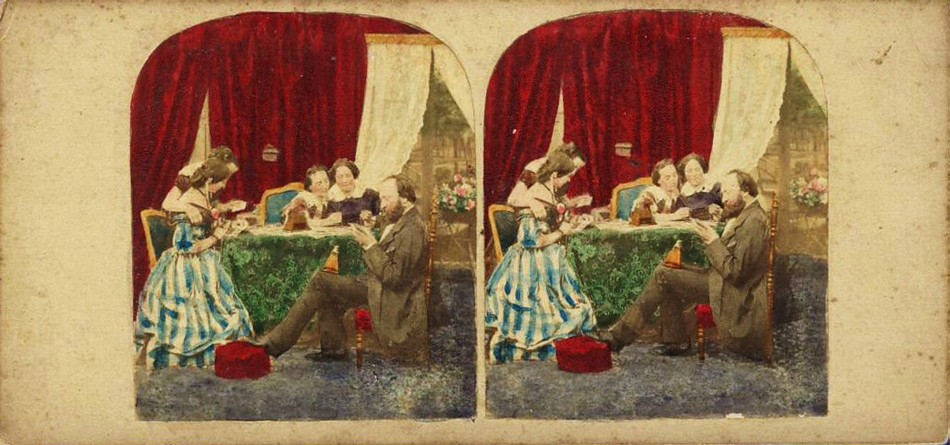 3D 1865 family looking at stereoview handtinted